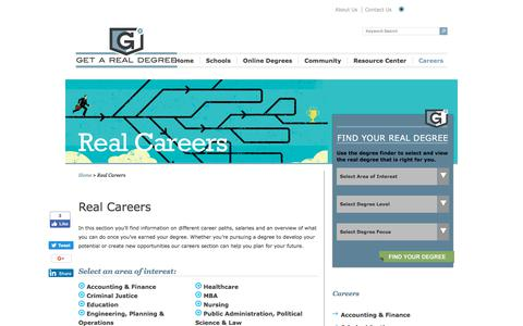 Screenshot of Jobs Page getarealdegree.com - Real Careers   Get A Real Degree - captured July 18, 2018