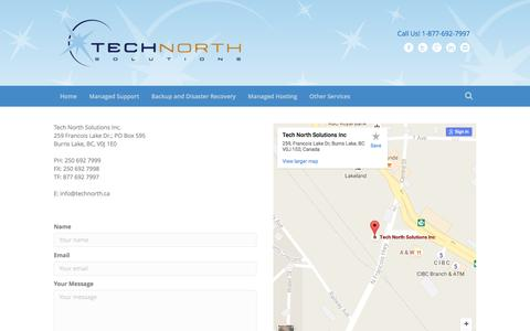 Screenshot of Contact Page technorth.ca - Contact Us – Tech North Solutions - captured Nov. 29, 2016