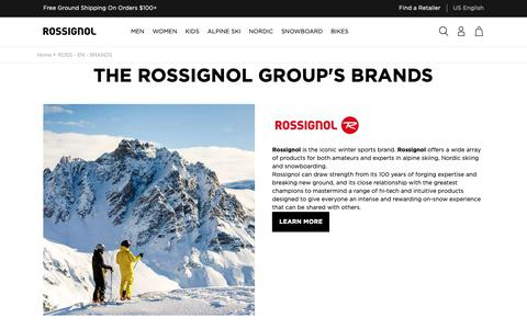 Screenshot of About Page rossignol.com - THE ROSSIGNOL GROUP'S BRANDS - captured Oct. 18, 2018
