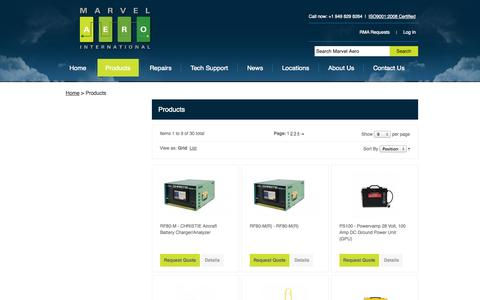 Screenshot of Products Page marvelaero.com - Products - captured Oct. 3, 2014