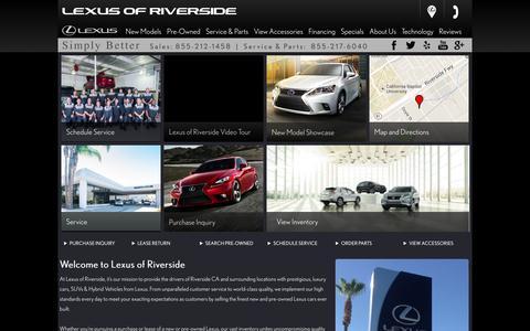 Screenshot of Home Page lexusofriverside.com - Lexus of Riverside - New & Used Lexus Dealership Serving Riverside, Corona, Redlands, & San Bernardino - captured Sept. 30, 2014