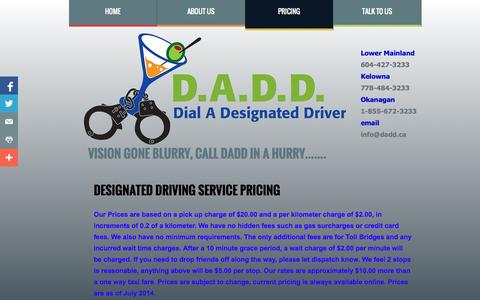 Screenshot of Pricing Page dadd.ca - Pricing - captured Oct. 5, 2014