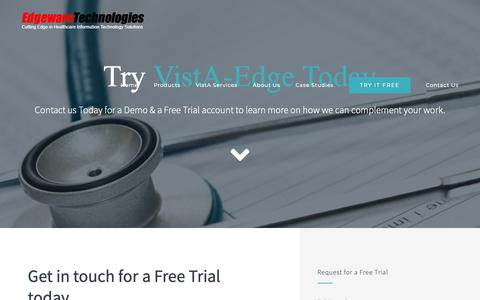 Screenshot of Trial Page vista-edge.com - Free Trial | Edgeware Technologies | Cloud Based VistA-Edge EHR Suite - captured Sept. 27, 2018