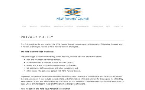 Screenshot of Privacy Page parentscouncil.nsw.edu.au - Privacy Policy - NSW PARENTS' COUNCIL - captured Oct. 18, 2018