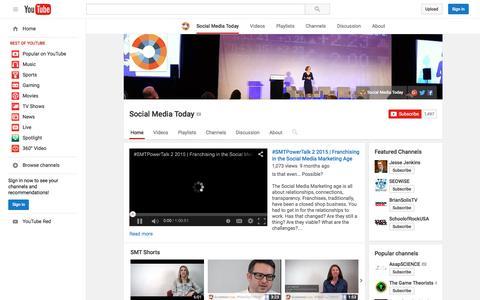 Screenshot of YouTube Page youtube.com - Social Media Today  - YouTube - captured Nov. 24, 2015