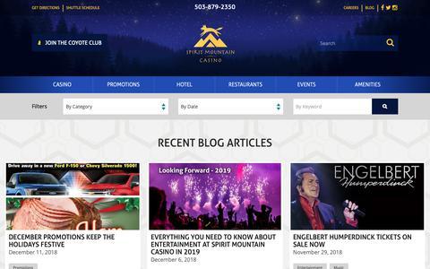 Screenshot of Blog spiritmountain.com - Blog   Grand Ronde, Oregon   Spirit Mountain Casino - captured Dec. 16, 2018