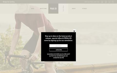 Screenshot of Home Page pedaled.com - Design for Cycling Clothing and Accessories | PEdALED - captured July 10, 2016