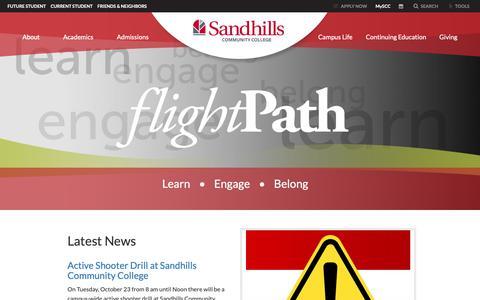 Screenshot of Press Page sandhills.edu - FlightPath - Sandhills Community College - captured Oct. 2, 2018
