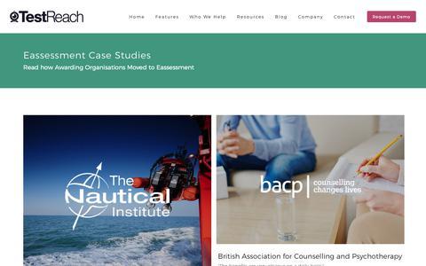 Screenshot of Case Studies Page testreach.com - Eassessment Case Studies | TestReach - captured Oct. 20, 2018
