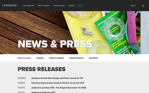 Screenshot of Press Page jawbone.com - Jawbone | News & Press - captured Oct. 26, 2015