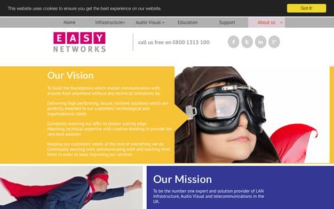 Screenshot of About Page easy.co.uk - About | Easy Networks, our vision, values and mission - captured March 23, 2016