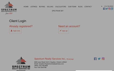 Screenshot of Login Page spectrumrealtyservices.com - Client Login   Spectrum Realty Services Inc - captured May 30, 2019