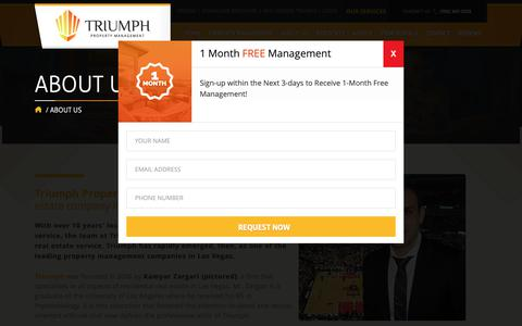 Screenshot of About Page triumphpropertymanagement.com - About Triumph Property Management | Las Vegas Property Management - captured Oct. 20, 2018