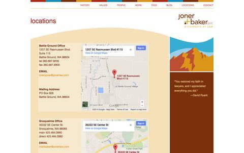 Screenshot of Locations Page jonerlaw.com - Joner Baker PLLC, Attorneys at Law, Battle Ground and Snoqualmie, Washington  – locations - captured Oct. 6, 2014