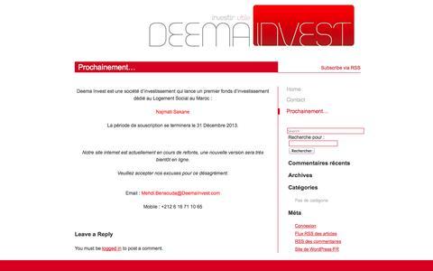 Screenshot of Home Page deemainvest.com captured Sept. 30, 2014