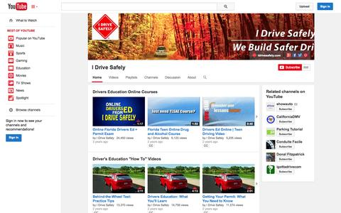 Screenshot of YouTube Page youtube.com - I Drive Safely  - YouTube - captured Oct. 23, 2014