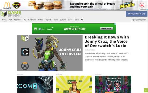 Screenshot of Home Page gameskinny.com - Video Game News, Cheats, Guides, Walkthroughs, Videos, Reviews & Culture - captured June 24, 2017
