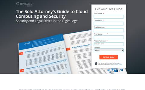 Screenshot of Landing Page mycase.com - The Solo Attorney's Guide to Cloud Computing and Security - captured March 1, 2018