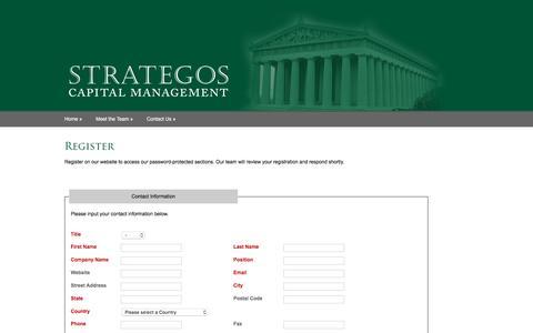Screenshot of Signup Page strategoscm.com - Strategos Capital Management - captured Feb. 25, 2016