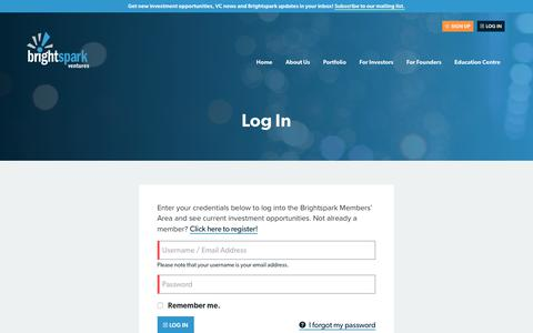 Screenshot of Login Page brightspark.com - Login | Brightspark Ventures - captured June 3, 2017