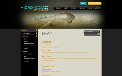 Screenshot of Press Page micro-coax.com - NEWS - captured Oct. 27, 2014