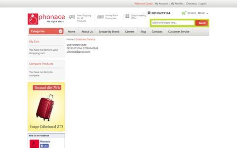 Screenshot of Support Page phonace.com - Customer Service - captured Nov. 1, 2014