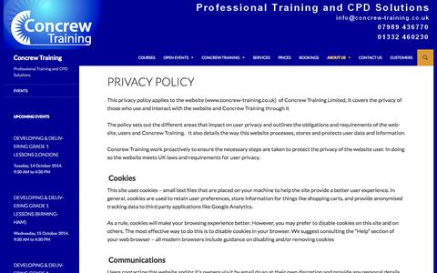 Screenshot of Privacy Page concrew-training.co.uk - Privacy Policy | Concrew Training - captured Sept. 30, 2014