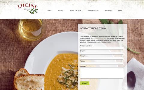 Screenshot of Contact Page lucini.com - Contact Lucini Italia – Lucini - captured Sept. 19, 2017