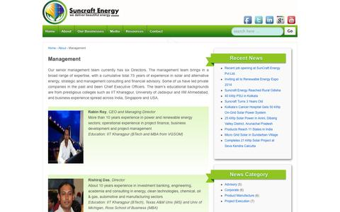 Screenshot of Team Page suncraftenergy.net - Management | SunCraft Energy Private Limited - captured Sept. 30, 2014