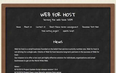 Screenshot of Press Page web4host.net - News | Web for host - captured Jan. 27, 2017