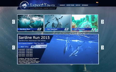 Screenshot of Home Page expert-tours.com - Expert Tours » Home - Tauch Expeditionen & Marine Logistics - captured Jan. 27, 2015