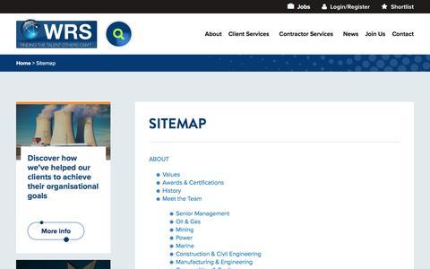Screenshot of Site Map Page worldwide-rs.com - Sitemap | Worldwide Recruitment Solutions (WRS) - captured Oct. 21, 2016