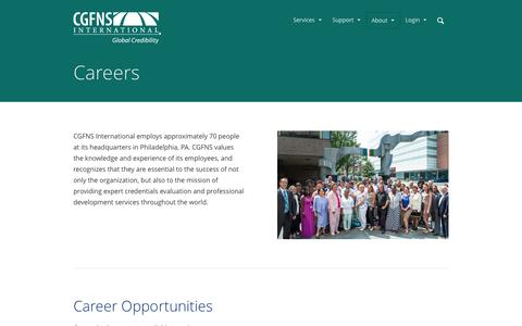 Screenshot of Jobs Page cgfns.org - Careers - CGFNS International | Global Credibility - captured Nov. 2, 2014
