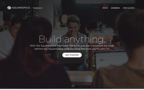 Screenshot of Developers Page squarespace.com - Squarespace Developers Platform - captured April 25, 2016