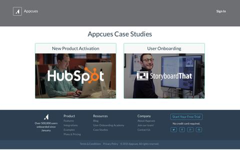 Screenshot of Case Studies Page appcues.com - Appcues Case Studies � Appcues - captured Nov. 24, 2015