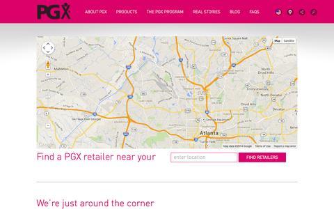 Screenshot of Locations Page pgx.com - Where to Buy PGX | PGX - captured Nov. 2, 2014