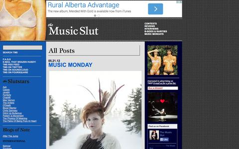 Screenshot of Home Page themusicslut.com - The Music Slut - Reviews, Interviews, Contests, Free MP3s - captured Oct. 9, 2014
