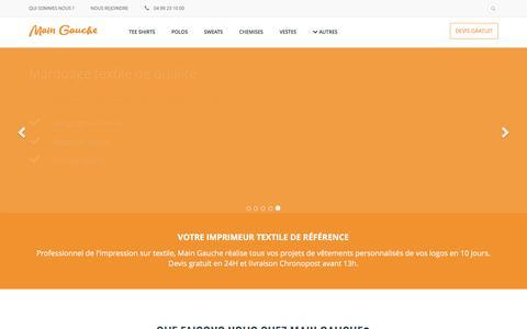 Screenshot of Home Page main-gauche.com - Main Gauche : Impression textile - Vêtements personnalisés - captured March 9, 2016