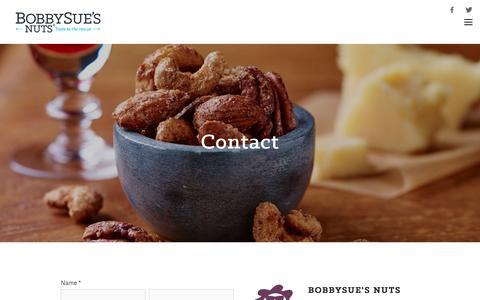 Screenshot of Contact Page bobbysuesnuts.com - Contact — BobbySue's Nuts - captured June 3, 2017