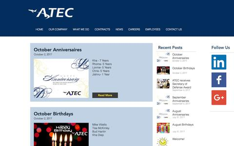 Screenshot of Press Page atec-co.com - ATEC | Air Traffic Engineering Services | NEWS - captured Oct. 7, 2017