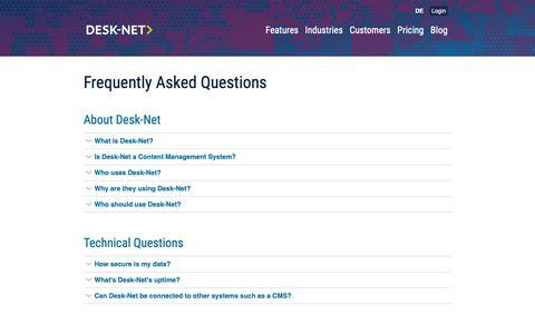 Screenshot of FAQ Page desk-net.com - Frequently Asked Questions | Desk-Net - captured Oct. 8, 2018