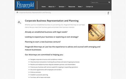 Screenshot of Services Page fitzgeraldatlaw.com - Fitzgerald  |  Corporate Business Representation and Planning - captured Oct. 10, 2018