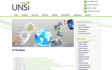 Screenshot of Press Page unsi.net - In The News | UNSi - captured Sept. 13, 2014