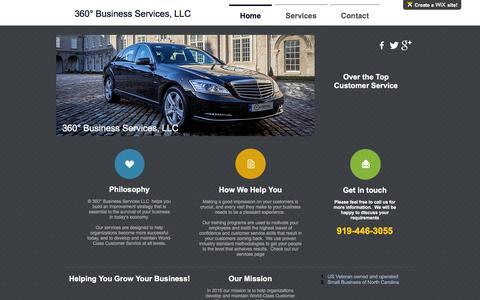Screenshot of Home Page wix.com - 360° Business Services, LLC - captured Feb. 25, 2016