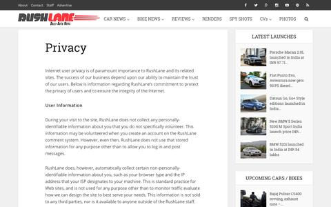 Screenshot of Privacy Page rushlane.com - Privacy - captured Aug. 22, 2016