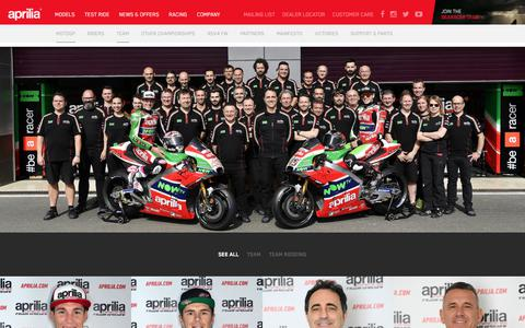 Screenshot of Team Page aprilia.com - Team - Aprilia - captured Sept. 23, 2018