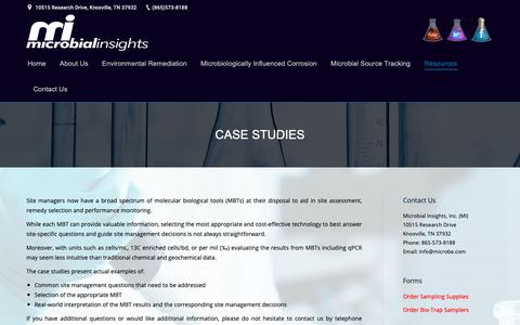 Screenshot of Case Studies Page microbe.com - Case Studies | Microbial Insights - captured Oct. 18, 2018
