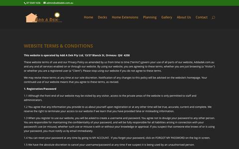 Screenshot of Terms Page addadek.com.au - Terms & Conditions - Add A Dek - captured Dec. 23, 2015