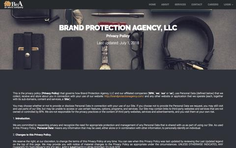 Screenshot of Privacy Page brandprotectionagency.com - BPA • Privacy Policy - captured July 28, 2018