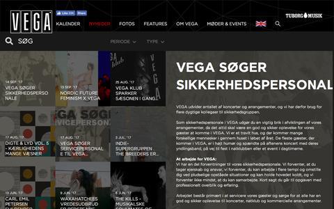 Screenshot of Press Page vega.dk - VEGA søger sikkerhedspersonale - VEGA   Musikkens hus - captured Sept. 18, 2017